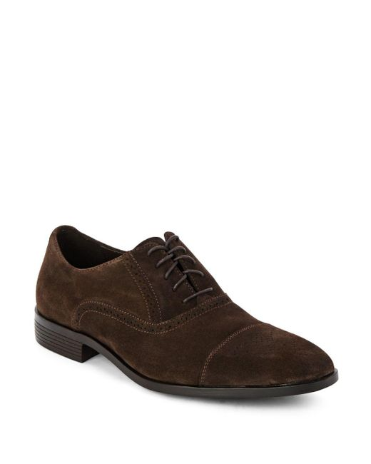 Saks Fifth Avenue | Brown Perforated Leather Oxfords for Men | Lyst