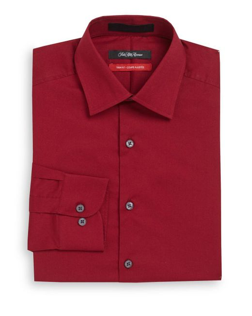 Saks Fifth Avenue | Red Trim-fit Solid Dress Shirt for Men | Lyst