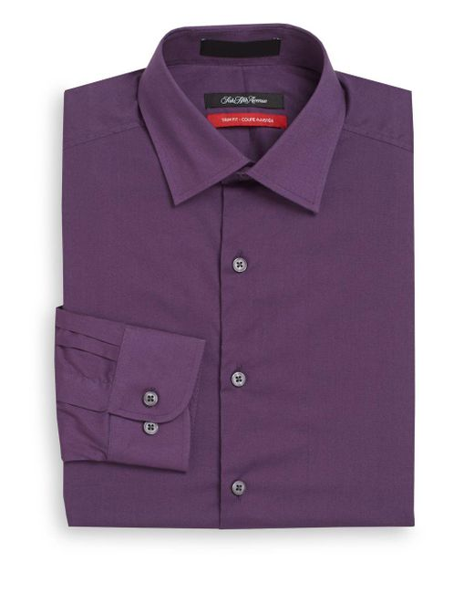 Saks Fifth Avenue | Purple Trim-fit Solid Dress Shirt for Men | Lyst