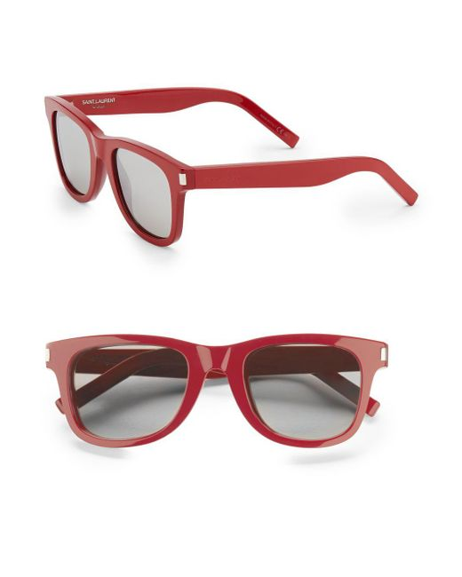 Saint Laurent | Red Round-frame Sunglasses | Lyst