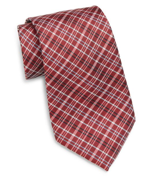 Saks Fifth Avenue | Red Plaid Silk Tie for Men | Lyst