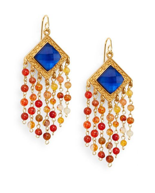 Stephanie Kantis | Multicolor Olympia London Blue Crystal & Carnelian Tassel Earrings | Lyst