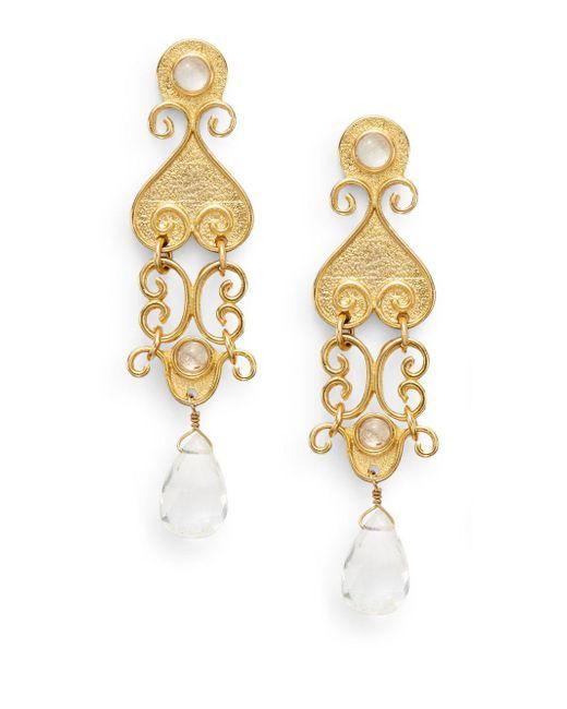 Stephanie Kantis | Metallic Antiquity Clear Quartz Briolette Drop Earrings | Lyst