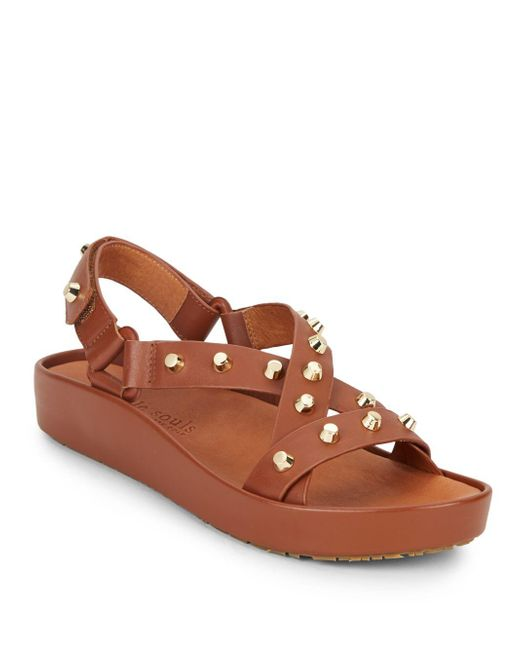 Gentle Souls | Brown Metal Studden Sandals | Lyst