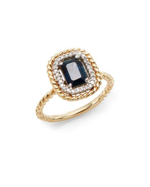Effy   Blue Final Call Sapphire, Diamond & 14k Yellow Gold Rope Ring   Lyst