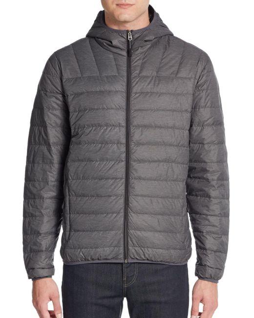 Saks Fifth Avenue   Gray Hooded Nylon Puffer Jacket for Men   Lyst