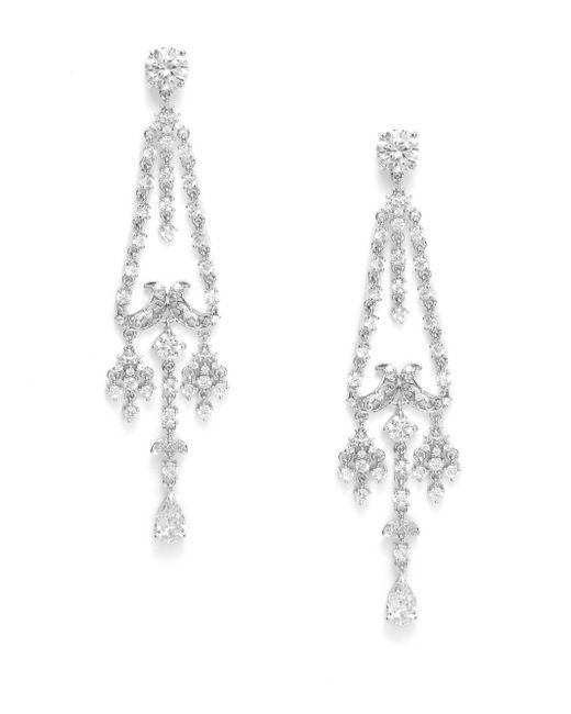CZ by Kenneth Jay Lane | Metallic Deco White Stone Chandelier Earrings | Lyst