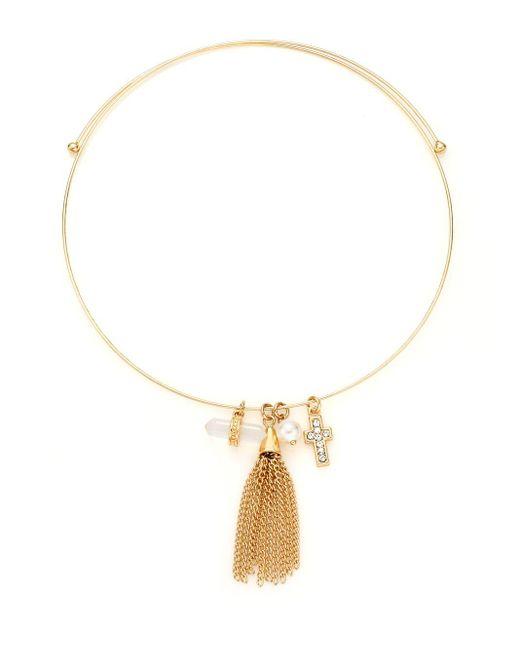 BCBGeneration | Metallic Charmed Choker Faux Pearl & Tassel Necklace | Lyst