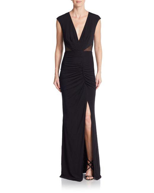 ABS By Allen Schwartz | Black V-neck Ruched Jersey Gown | Lyst