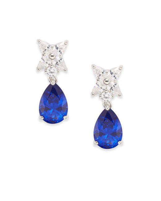 CZ by Kenneth Jay Lane | Blue Flower & Pear Drop Earrings/silvertone | Lyst