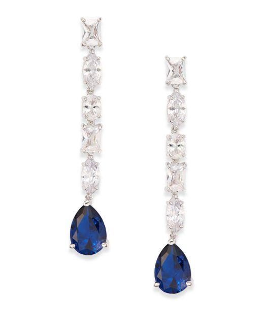 CZ by Kenneth Jay Lane | Blue Multi-stone Linear Drop Earrings/silvertone | Lyst