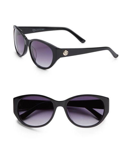 O By Oscar De La Renta | Black 56mm Oval Sunglasses | Lyst