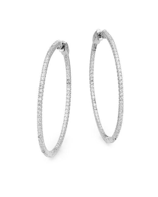 """Saks Fifth Avenue   Metallic Pavé Hoop Earrings/2""""""""   Lyst"""
