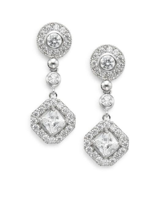 Saks Fifth Avenue | Metallic Pavé Halo Drop Earrings | Lyst