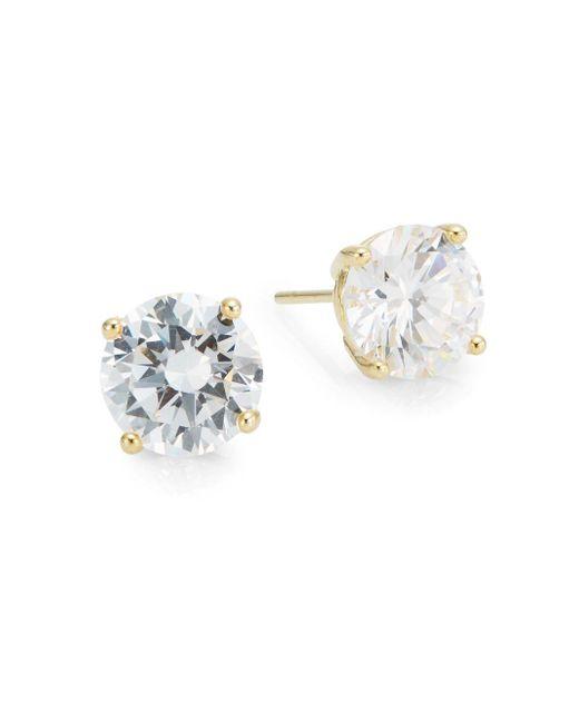 Saks Fifth Avenue | Metallic Prong-set Round Stud Earrings/goldtone | Lyst