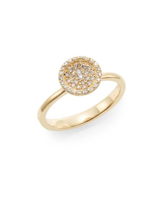 Effy   Metallic Diamond & 14k Yellow Gold Disc Ring   Lyst