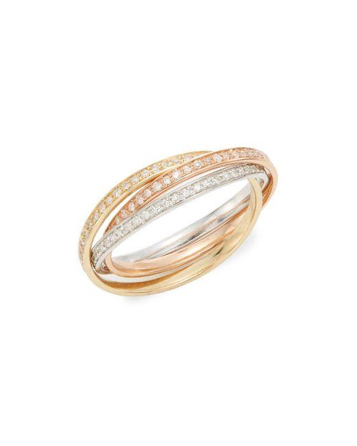 Effy | Metallic Diamond & 14k White, Yellow & Rose Gold Ring | Lyst