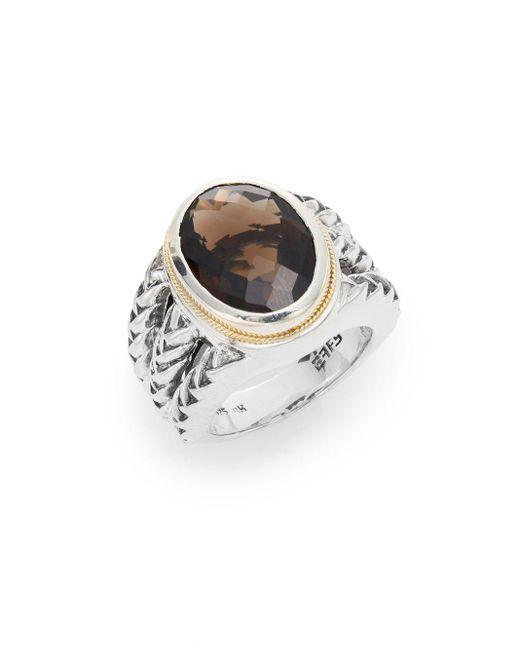 Effy | Metallic 925 Smoky Quartz, Sterling Silver & 18k Yellow Gold Ring | Lyst