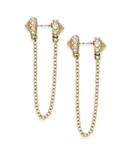 Rebecca Minkoff | Metallic Chain Drop Earrings/goldtone | Lyst