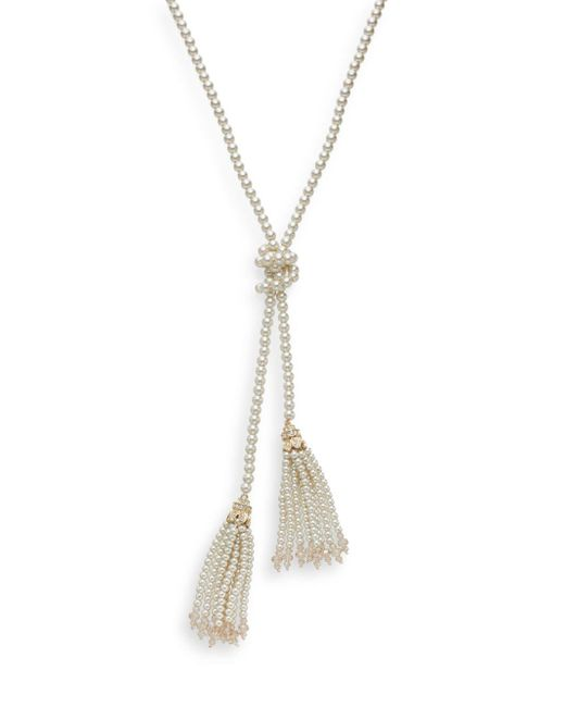 Saks Fifth Avenue | Metallic Pearl Embellished Lariat Necklace/goldtone | Lyst