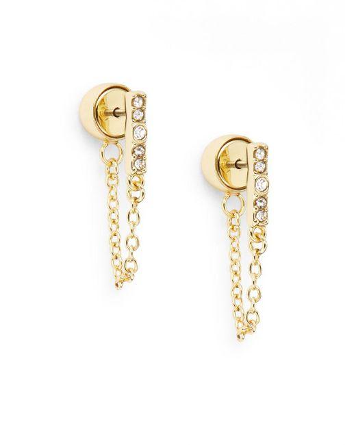 Saks Fifth Avenue | Metallic Glitz Bar Chain Earrings/goldtone | Lyst