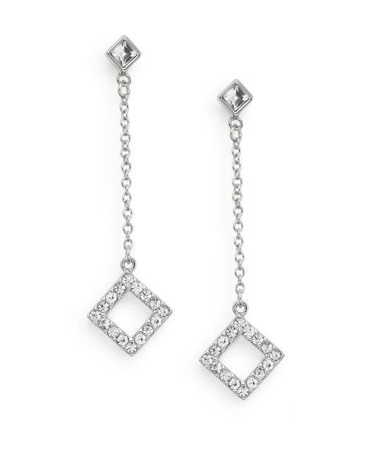 Saks Fifth Avenue | Metallic White Stone Geo Drop Earrings/silvertone | Lyst