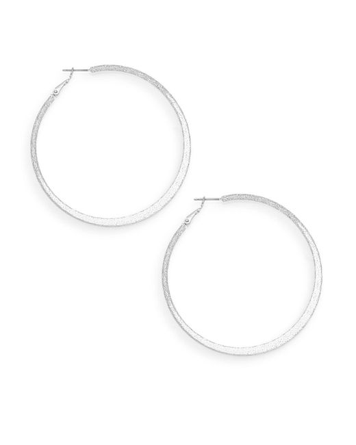 Ak Anne Klein | Metallic Social Textured Silvertone Hoop Earrings/2.5"