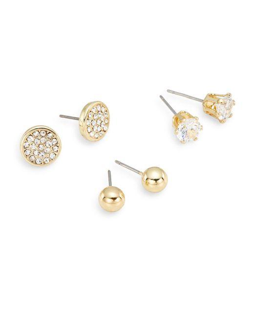 Ak Anne Klein   Metallic Social White Stone Mixed Stud Earring Set/goldtone   Lyst