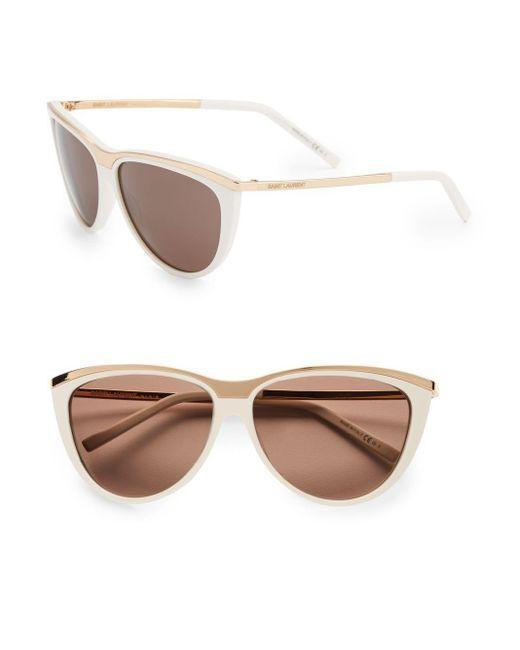 Saint Laurent | White 59mm Cat-eye Sunglasses | Lyst