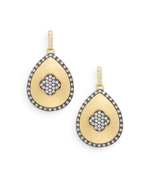 Freida Rothman | Metallic Pavé Clover Teardrop Earrings | Lyst