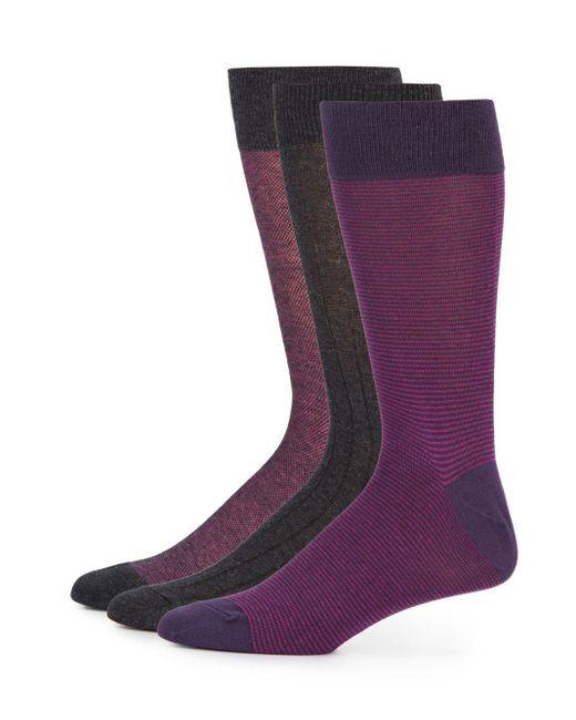 Saks Fifth Avenue | Purple Cotton-blend Socks/3-pack for Men | Lyst