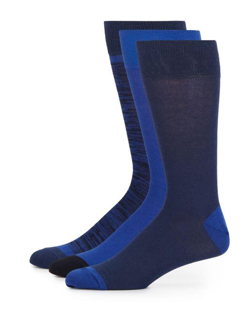 Saks Fifth Avenue   Blue Striped Cotton-blend Socks/3-pack for Men   Lyst