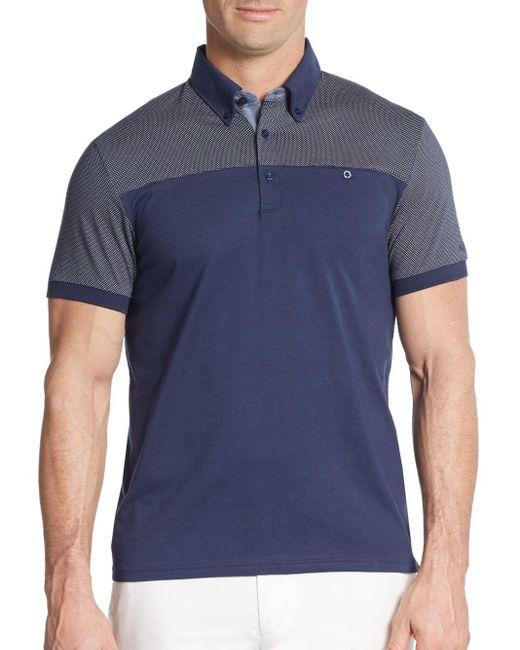 Ben Sherman   Blue Pindot-panel Cotton Polo Shirt for Men   Lyst