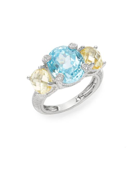 Judith Ripka | Metallic White Sapphire & Sterling Silver Tri-stone Ring | Lyst