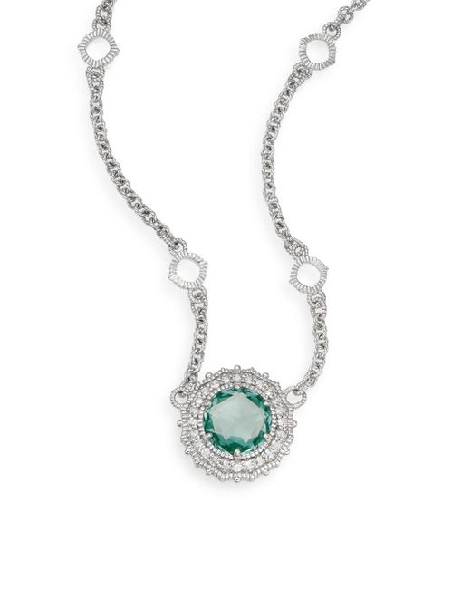 Judith Ripka | Metallic Luna Paraiba Spinel, White Sapphire & Sterling Silver Pendant Necklace | Lyst