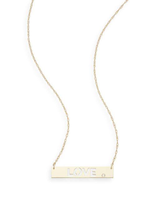 Saks Fifth Avenue | Metallic Diamond & 14k Yellow Gold Love Pendant Necklace | Lyst