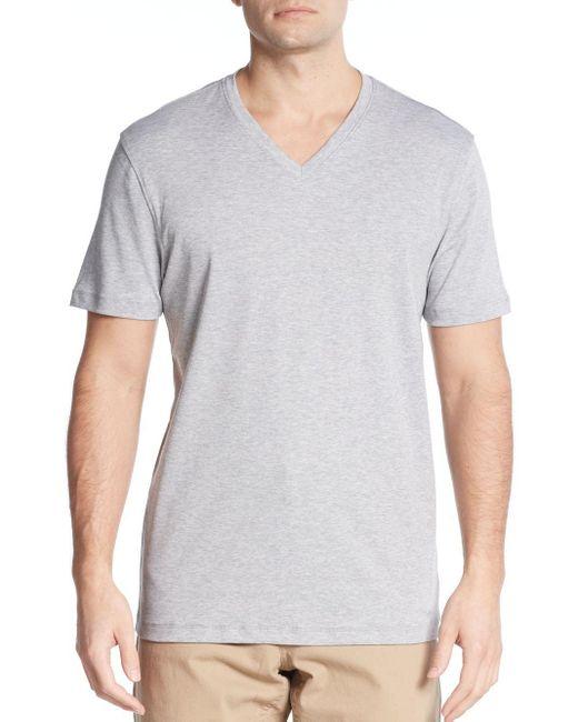 Michael Kors | Gray Liquid Interlock Jersey V-neck Tee for Men | Lyst