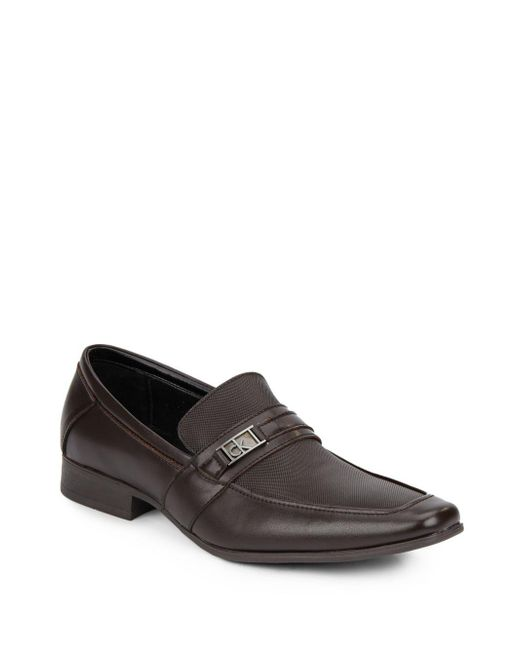 Calvin Klein Bartley Logo Loafers In Brown For Men Lyst