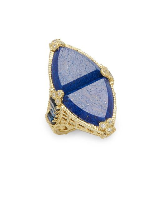 Judith Ripka | Blue Diamond, Lapis & 18k Yellow Gold Ring | Lyst