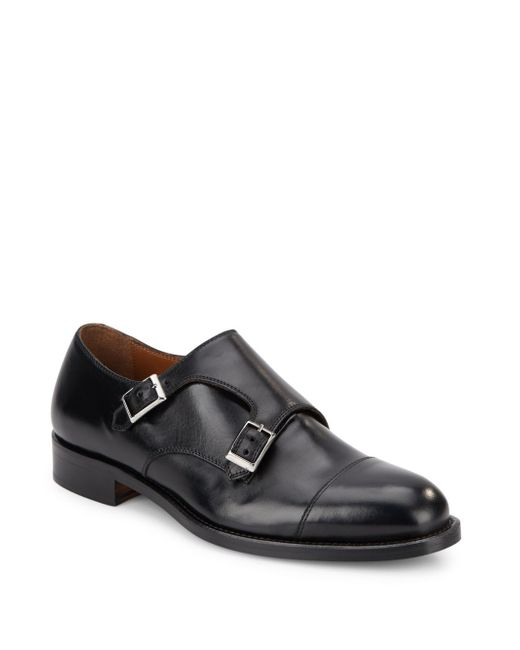 saks fifth avenue monk leather shoes in black