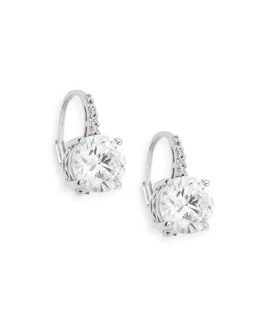 Ak Anne Klein   Metallic Sterling Silver Round Drop Earrings   Lyst