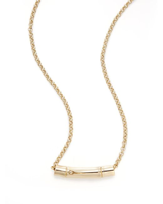 John Hardy | Metallic Bamboo 18k Yellow Gold & Sterling Silver Slider Pendant Necklace | Lyst