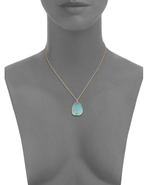 Argento Vivo | Metallic Aqua Chalcedony & 18k Goldtone Sterling Silver Pendant Necklace | Lyst