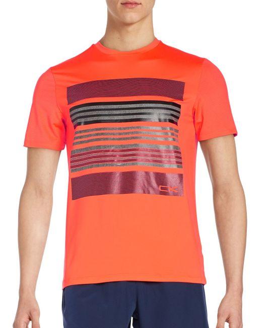Calvin Klein | Orange Graphic Tee for Men | Lyst