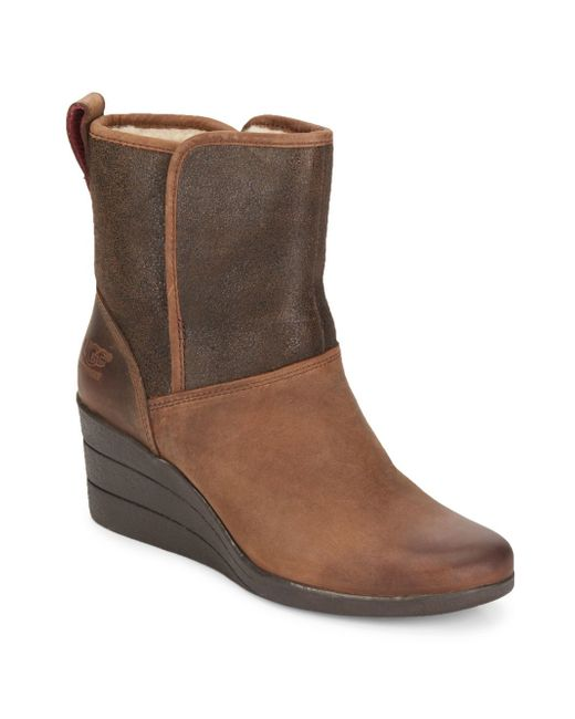 ugg renatta uggpure suede leather wedge boots lyst