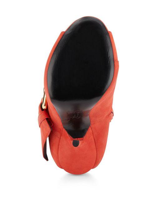 Giuseppe zanotti Leather Cutout-heel Booties in Orange
