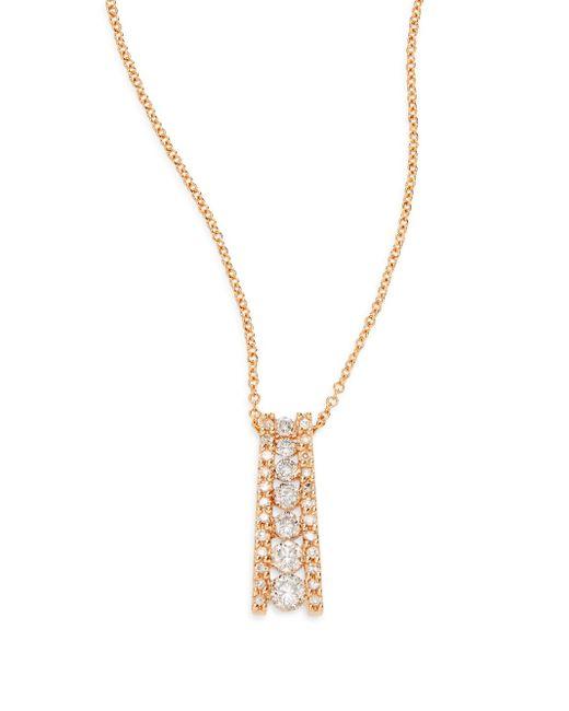 Effy   Metallic Diamond & 14k Rose Gold Pendant Necklace   Lyst