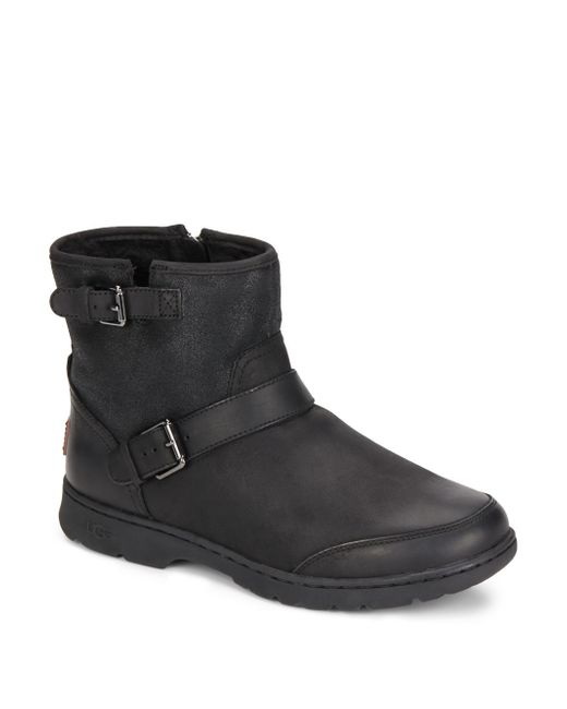 ugg uggpure lined leather suede ankle boots in