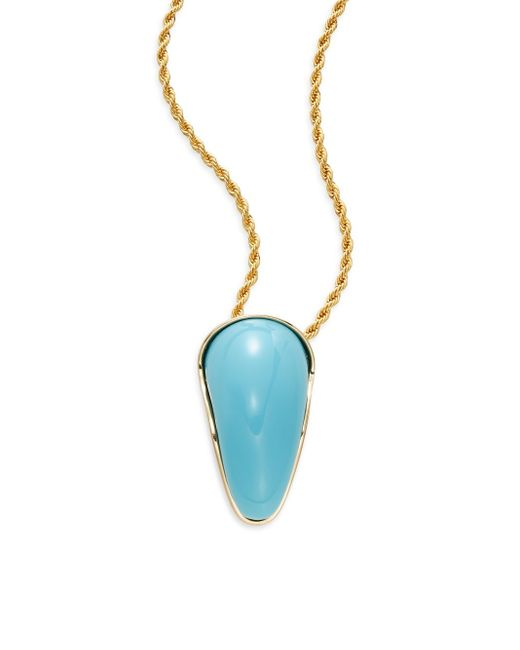 Kenneth Jay Lane | Metallic Kjl Turquoise Pendant Necklace | Lyst