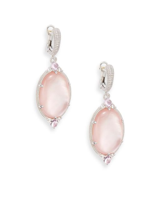 Judith Ripka | Metallic Allure White Sapphire, Rock Crystal, Pink Corundum, Pink Mother-of-pearl & Sterling Silver Oval Drop Earrings | Lyst